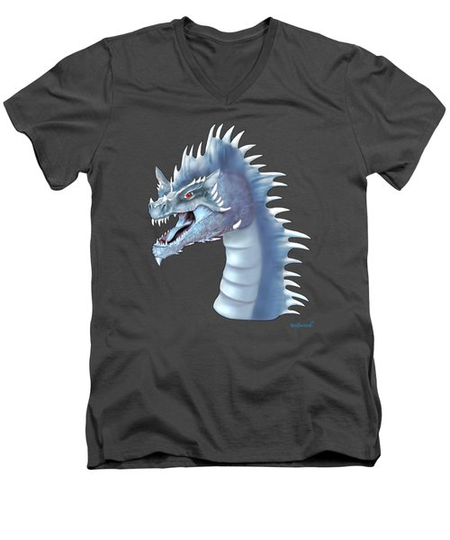 Mystical Ice Dragon Men's V-Neck T-Shirt by Glenn Holbrook