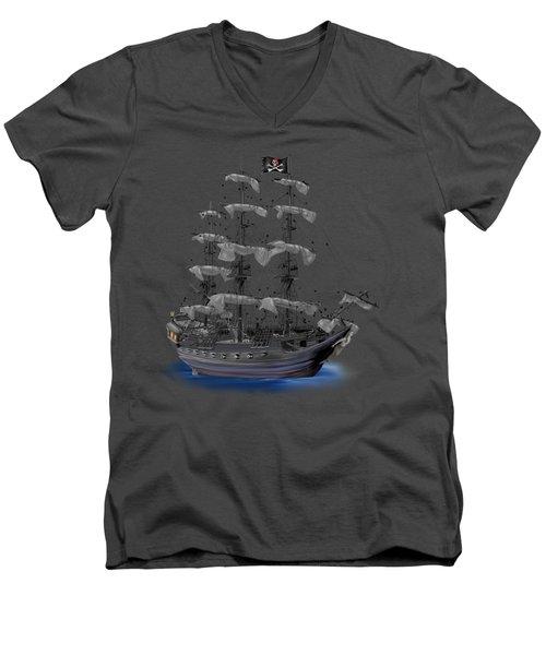 Mystical Moonlit Pirate Ship Men's V-Neck T-Shirt