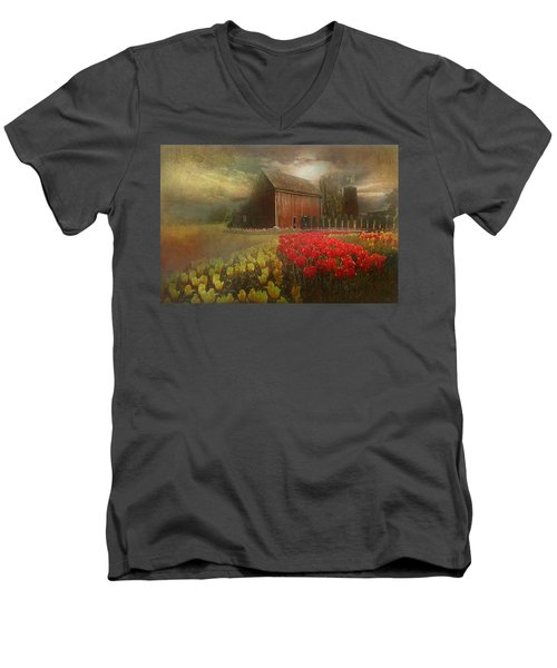 Mythical Tulip Farm Men's V-Neck T-Shirt by Jeff Burgess