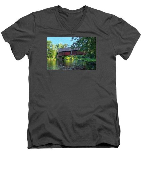 Men's V-Neck T-Shirt featuring the digital art N. Troy Bridge by John Selmer Sr