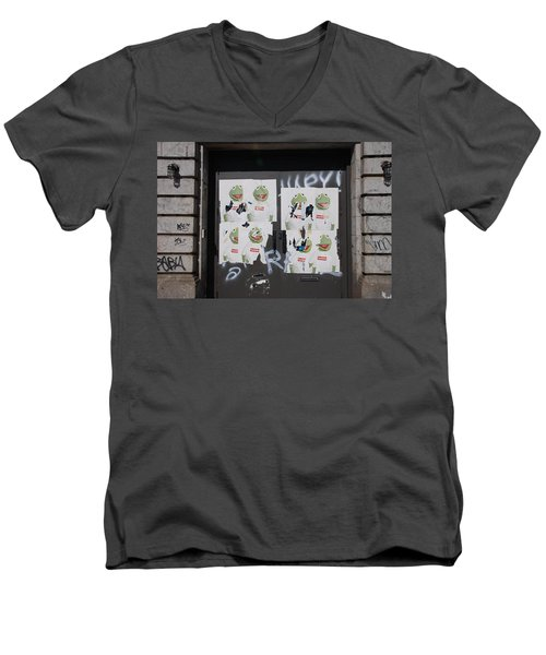Men's V-Neck T-Shirt featuring the photograph N Y C Kermit by Rob Hans