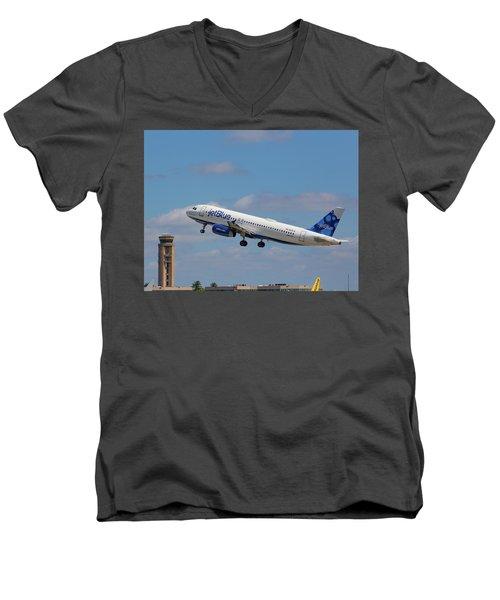 N625jb Jetblue At Fll Men's V-Neck T-Shirt