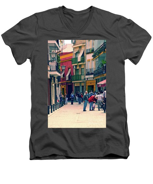 Men's V-Neck T-Shirt featuring the photograph Triana On A Sunday Afternoon 1 by Mary Machare