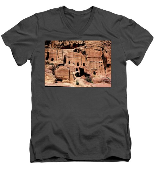 Men's V-Neck T-Shirt featuring the photograph Nabataeans' City by Mae Wertz
