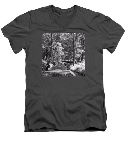 Men's V-Neck T-Shirt featuring the photograph Nadine's Creek In Black And White by Kathy Kelly