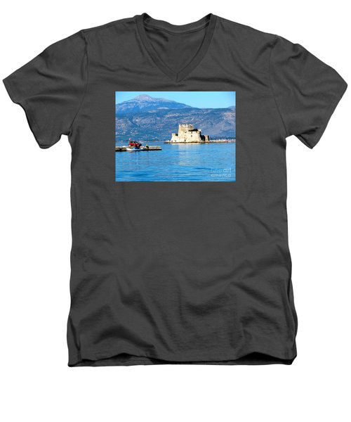 Men's V-Neck T-Shirt featuring the photograph Naflion Greece Harbor Fortress by Phyllis Kaltenbach