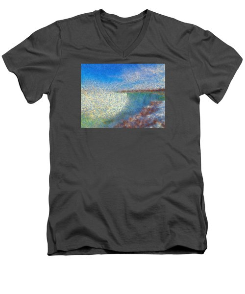 Men's V-Neck T-Shirt featuring the painting Nagara Falls Point Of View by Mario Carini
