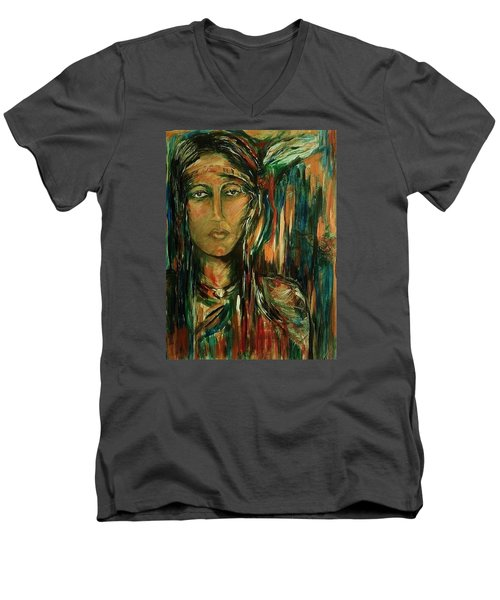Men's V-Neck T-Shirt featuring the painting Nancy Ward Beloved Woman Nanye by Dawn Fisher