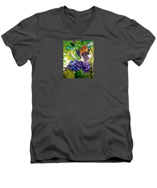 Men's V-Neck T-Shirt featuring the painting Napa Harvest by Lance Gebhardt