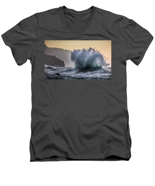 Napali Coast Kauai Wave Explosion Men's V-Neck T-Shirt