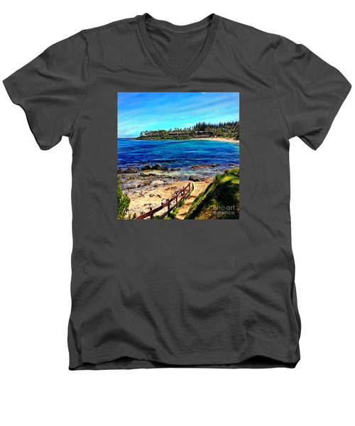 Napili Beach Gazebo Walkway Shower Curtain Size Men's V-Neck T-Shirt