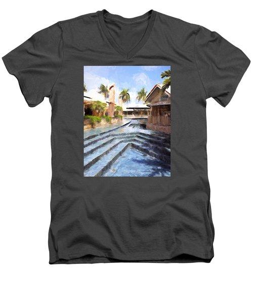 Naples Falls Shopping  Men's V-Neck T-Shirt by Rena Trepanier