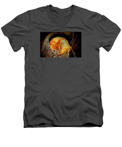 Napping Fennec Fox Men's V-Neck T-Shirt by Greg Slocum