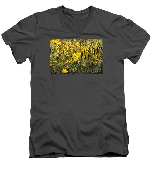 Narcissus And Grasses Men's V-Neck T-Shirt by Tanya Searcy