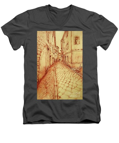 Narrow Street Of Lovere Italy Men's V-Neck T-Shirt by Maja Sokolowska