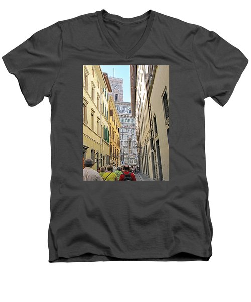 Narrow Street To Catherdal Square Men's V-Neck T-Shirt by Allan Levin
