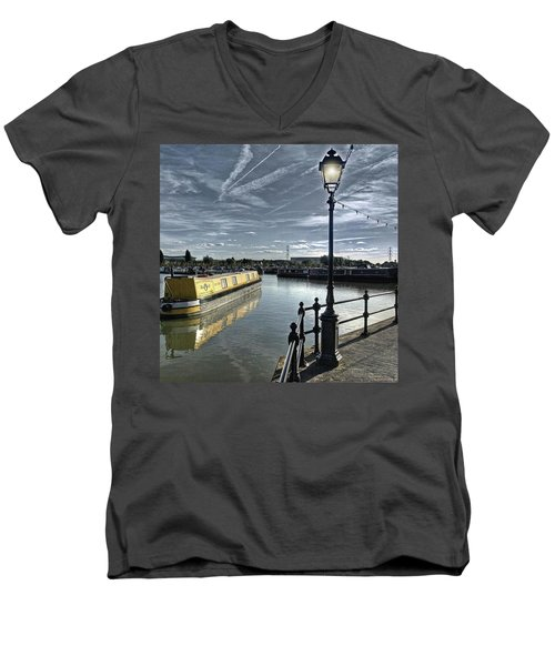 Narrowboat Idly Dan At Barton Marina On Men's V-Neck T-Shirt by John Edwards