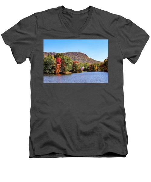 Nashawannuck Pond Fall Colors Men's V-Neck T-Shirt