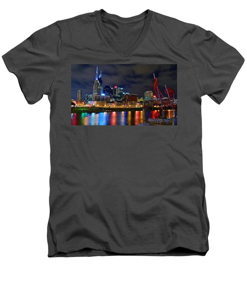 Nashville After Dark Men's V-Neck T-Shirt by Frozen in Time Fine Art Photography
