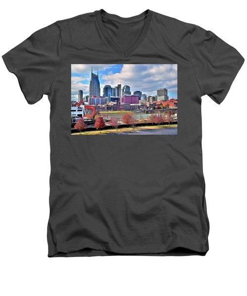 Men's V-Neck T-Shirt featuring the photograph Nashville Clouds by Frozen in Time Fine Art Photography
