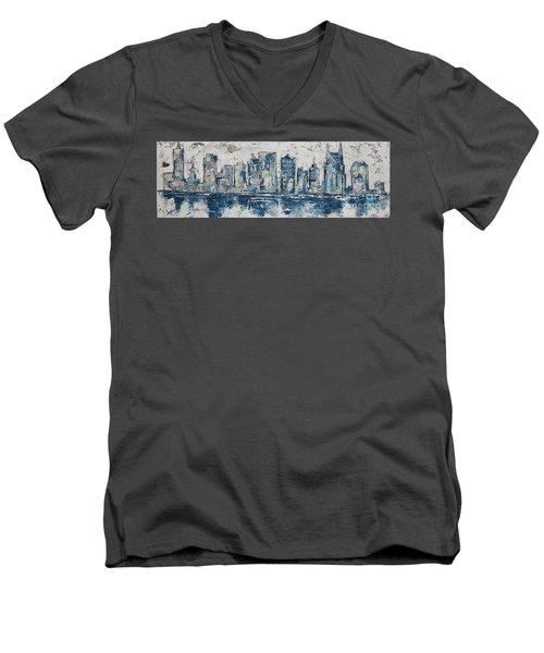 Nashville In Blues Men's V-Neck T-Shirt