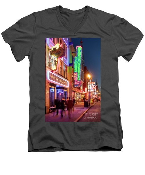 Men's V-Neck T-Shirt featuring the photograph Nashville Signs II by Brian Jannsen