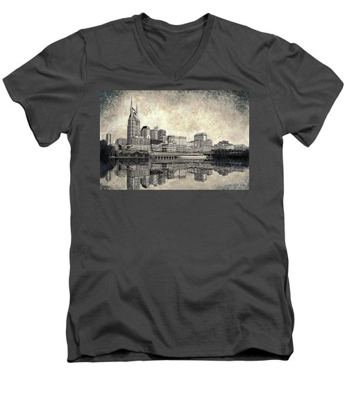 Men's V-Neck T-Shirt featuring the mixed media Nashville Skyline II by Janet King