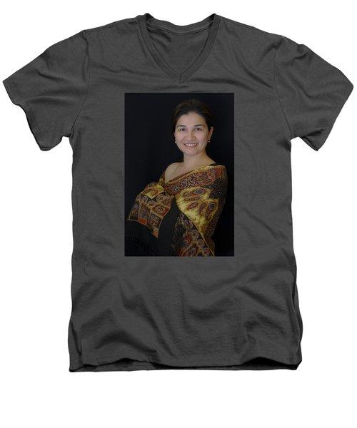 Nasiba. Girl And Her Pearls Men's V-Neck T-Shirt