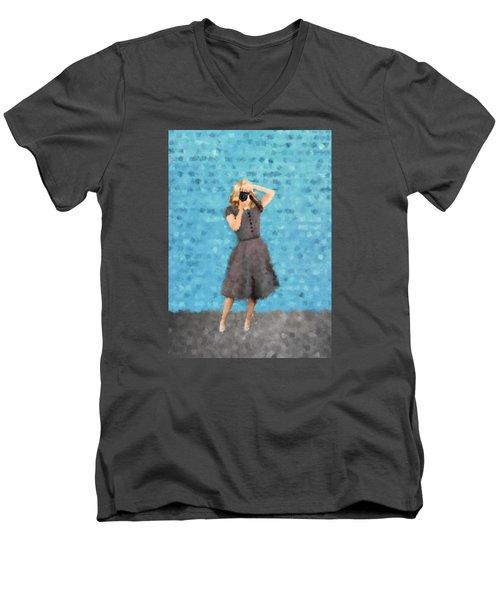 Men's V-Neck T-Shirt featuring the digital art Natalie by Nancy Levan