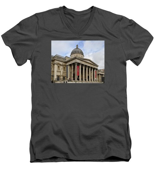 Men's V-Neck T-Shirt featuring the photograph National Gallery London by Shirley Mitchell