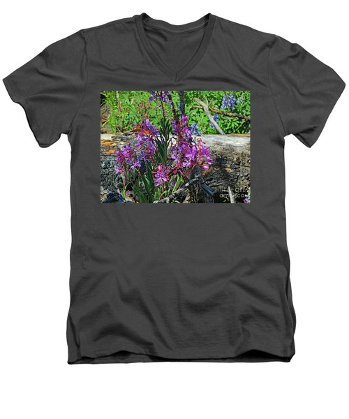 Men's V-Neck T-Shirt featuring the photograph National Parks. From The Ashes To New Life. by Ausra Huntington nee Paulauskaite