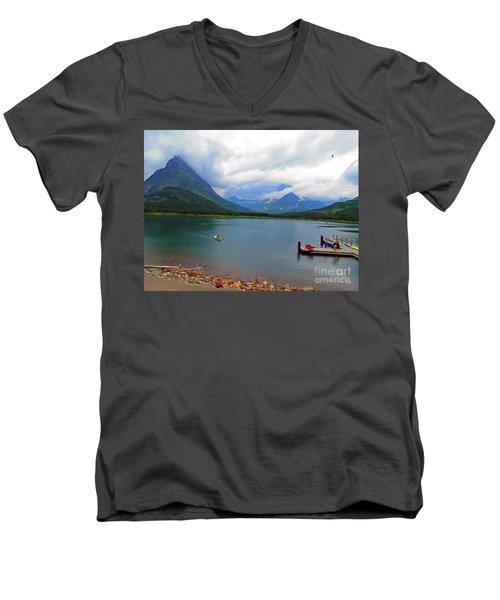 Men's V-Neck T-Shirt featuring the photograph National Parks. Serenity Of Mcdonald by Ausra Huntington nee Paulauskaite