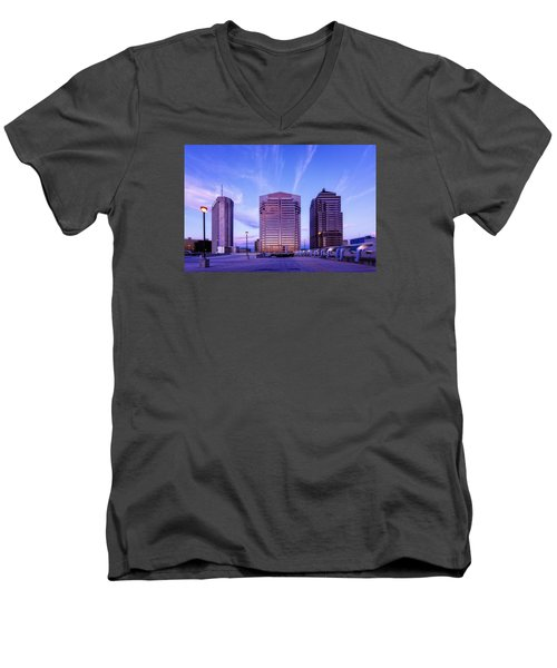 Men's V-Neck T-Shirt featuring the photograph Nationwide Plaza Evening by Alan Raasch