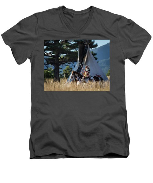 Native American In Full Headdress In Front Of Teepee Men's V-Neck T-Shirt by Nadja Rider