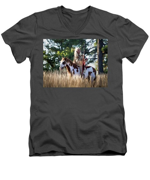 Native American In Full Headdress On A Paint Horse Men's V-Neck T-Shirt by Nadja Rider