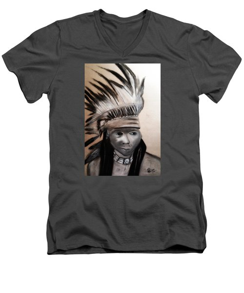 Men's V-Neck T-Shirt featuring the painting Arapaho Man With Gun. 1898. Wyoming by Ayasha Loya