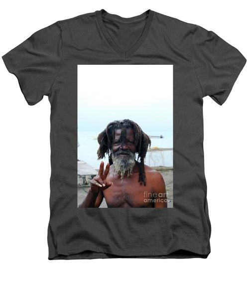Men's V-Neck T-Shirt featuring the photograph Native Man by Gary Wonning