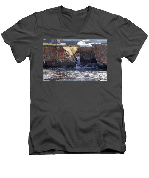 Natural Bridge At Point Arena Men's V-Neck T-Shirt by Mick Anderson