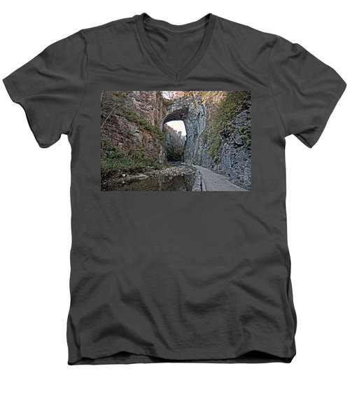 Men's V-Neck T-Shirt featuring the photograph Natural Bridge Virginia by Suzanne Stout
