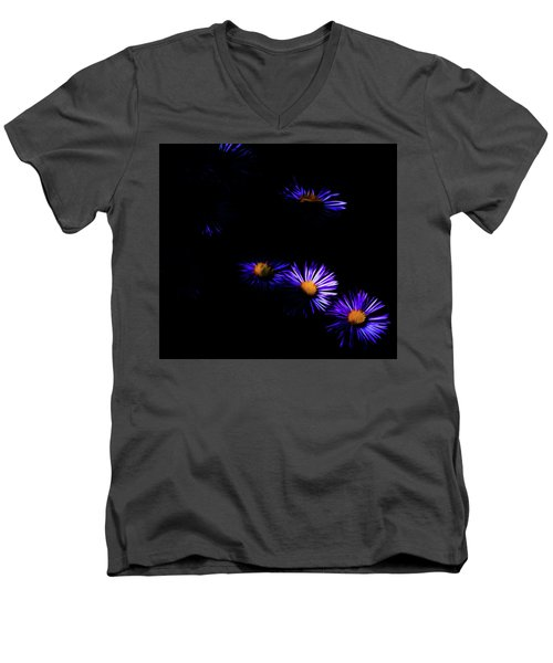 Men's V-Neck T-Shirt featuring the digital art Natural Fireworks by Timothy Hack
