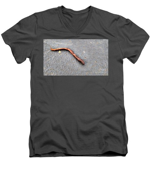 Men's V-Neck T-Shirt featuring the photograph Naturally Bronzed Earthworm by Robert Knight
