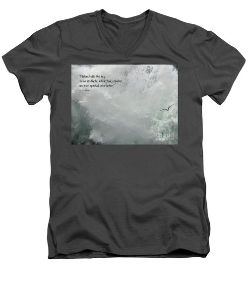 Men's V-Neck T-Shirt featuring the photograph Nature Holds The Key by Peggy Hughes