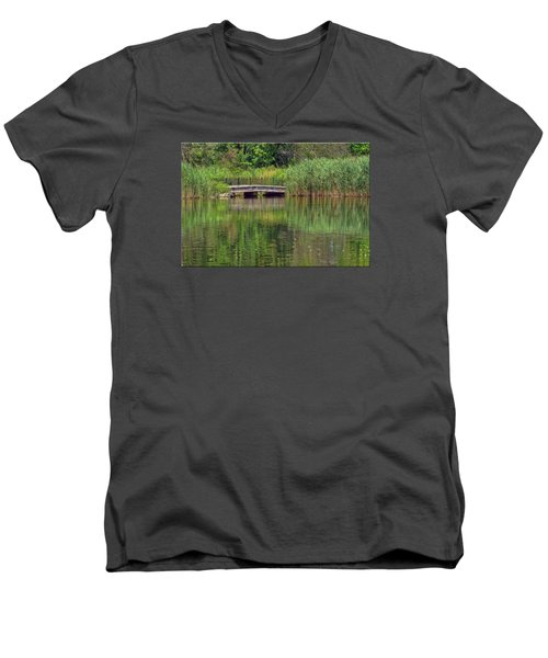 Nature In Green Men's V-Neck T-Shirt by Mikki Cucuzzo