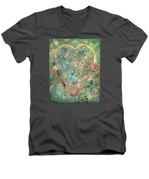 Men's V-Neck T-Shirt featuring the painting Nature Lover by Diana Bursztein
