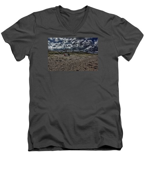 Men's V-Neck T-Shirt featuring the photograph Nature Playing To An Empty Beach by Constantine Gregory