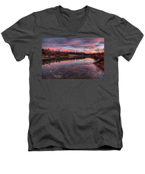 Nature Reserve Reflections Men's V-Neck T-Shirt by John Loreaux