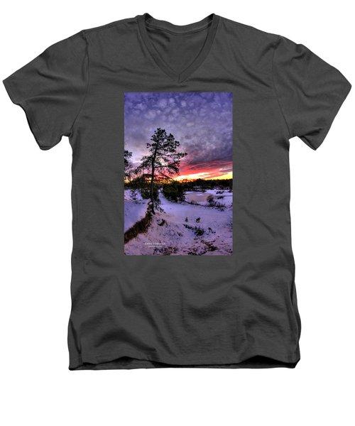 Nature Reserve Snowset Men's V-Neck T-Shirt by John Loreaux