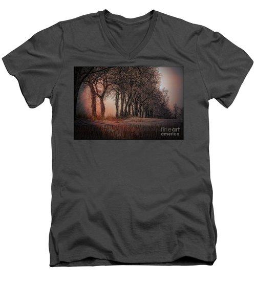 Nature Winter Bare Trees Color  Men's V-Neck T-Shirt