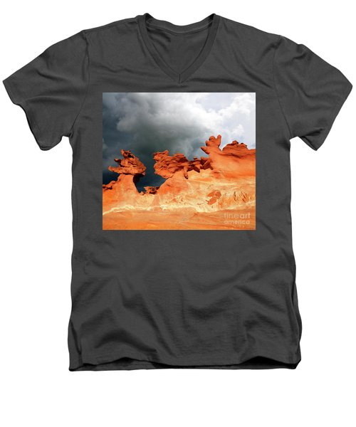 Men's V-Neck T-Shirt featuring the photograph Nature's Artistry Nevada by Bob Christopher