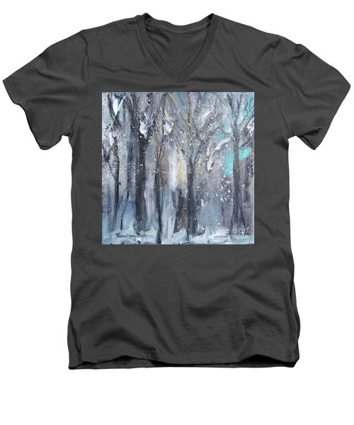 Men's V-Neck T-Shirt featuring the painting Nature's Cathedral by Robin Maria Pedrero